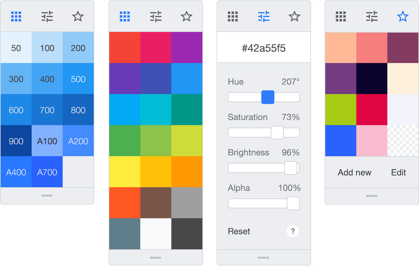 Material design tools - Color picker JS