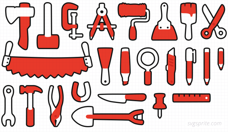Hand tools vectors. Clamp, divider, spatula, two-handed saw, magnifier, small, pencil, pliers, magnet, pin