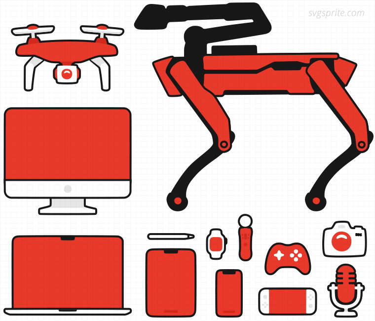 Modern devices vectors. Spotmini robot, drone, iphone, ipad, imac, smartwatch, stylus, apple pencil, playstation move, nintendo switch