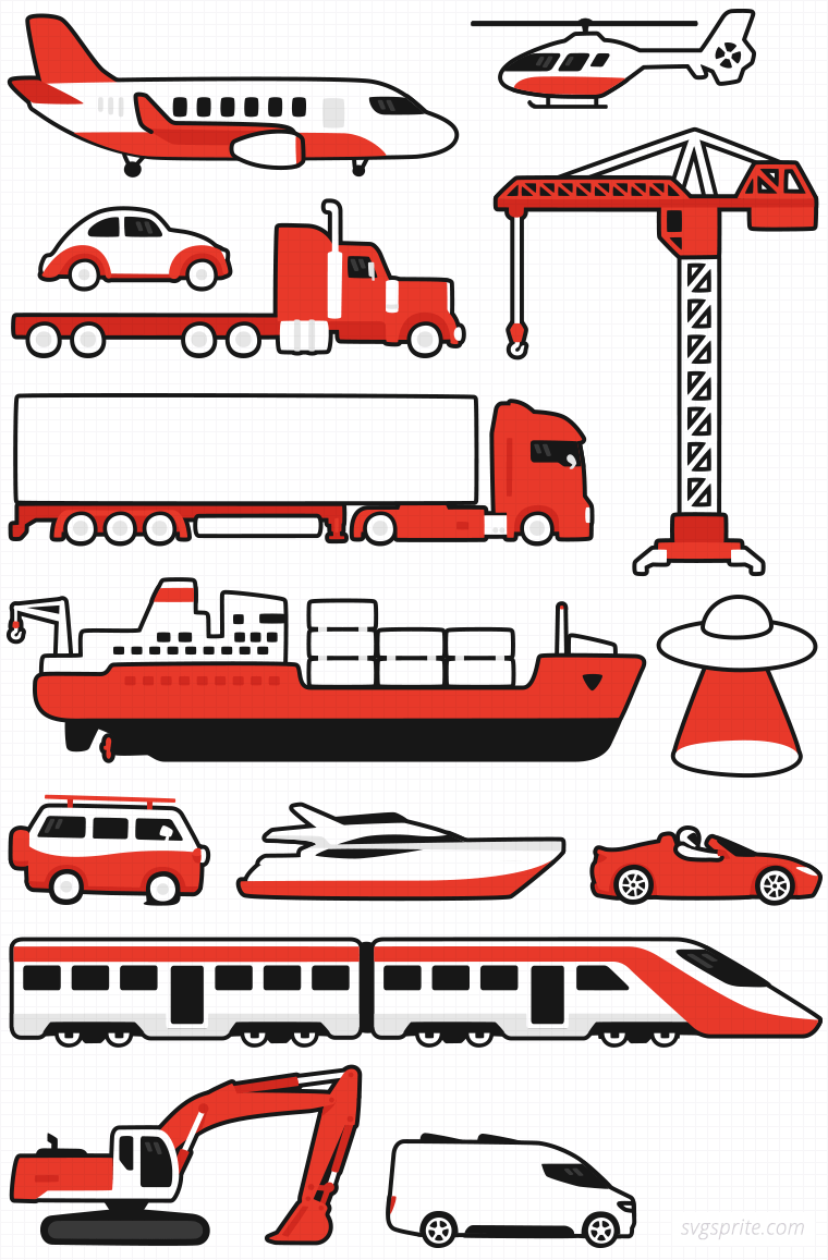 Tesla red roadster, flying saucer, american big truck, airplane, helicopter, oldcar, crane, truck, cargoship, yacht, train, excavator, modern van