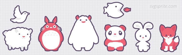 Cartoonish animals vectors. Totoro, yeti, snowman, panda, littlebig fish, lamb sheep, birdie, dove, white hare, firefox