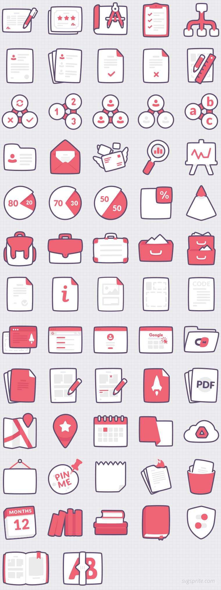 Data managment icons. Certificate, checklist, mindmap, prototyping, team, school-bag, business, search, secret, folder, placemark, calendar, books