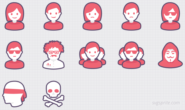 People vector icons. Happy woman, unhappy male, serious scientist, anonymous team, pirate, blindfold