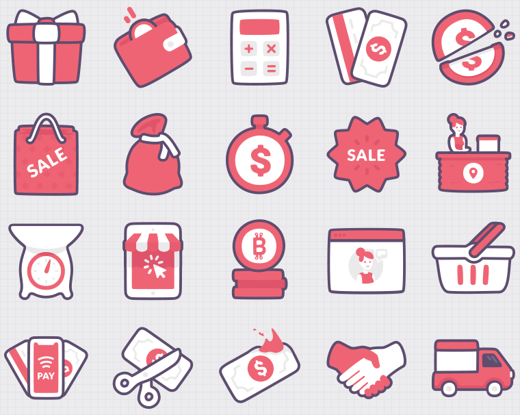 Shopping vector icons. Gift, cashback, payments methods, half, price, pouch, sale, outpost, bitcoin, feedback, handshake, delivery