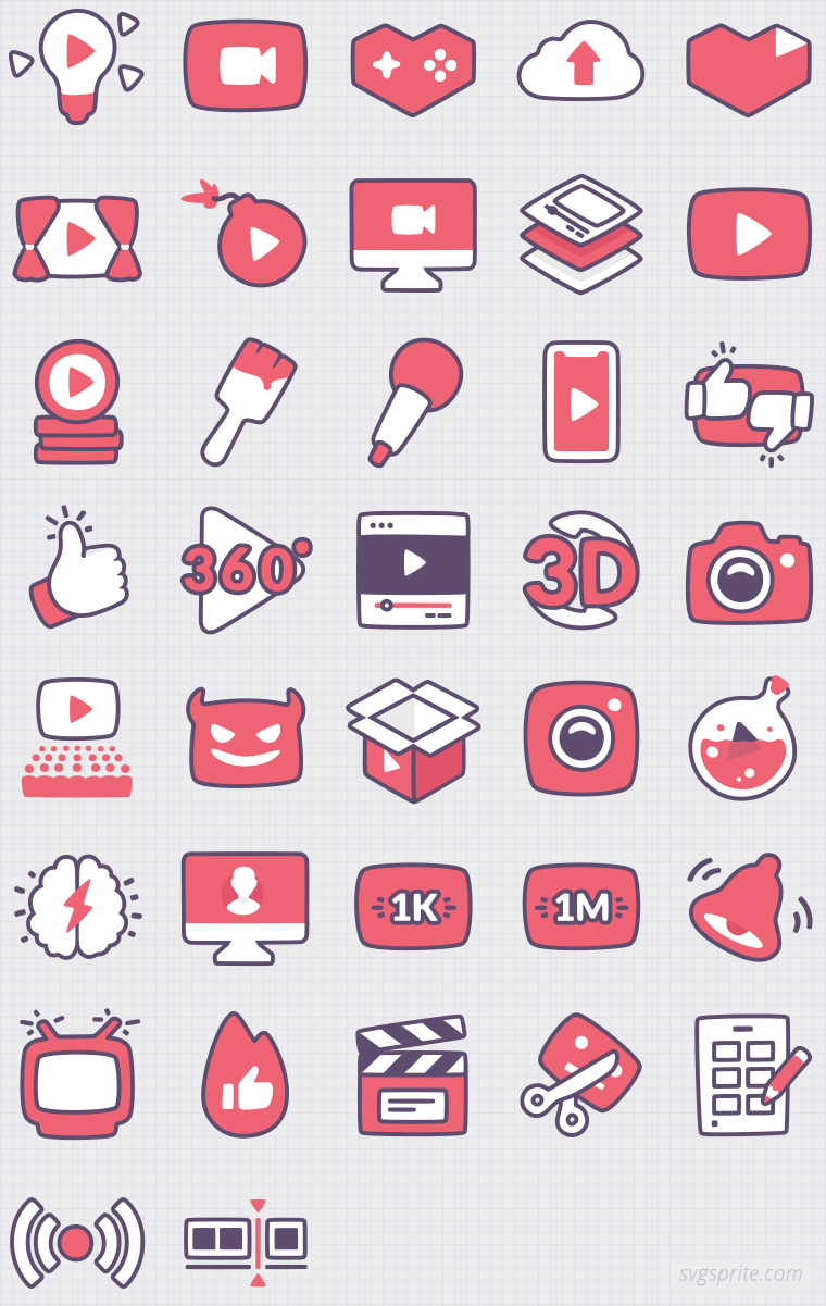 Youtuber icon set. Gaming, public speech, viral video, video360, target audience, brain, follower, redbutton, storytelling, storyboard, webinar, conference